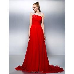 Formal Evening Dress Ruby Plus Sizes Petite A Line Princess One Shoulder Court Train Georgette