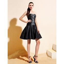 Cocktail Party Dress - Black A-line/Princess Strapless Knee-length Taffeta