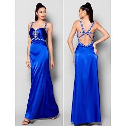Formal Evening Dress Royal Blue Plus Sizes Petite Sheath Column Straps Floor Length Stretch Satin