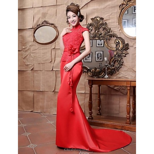 Formal Evening Dress - Ruby Plus Sizes Trumpet/Mermaid High Neck Floor-length Satin Special Occasion Dresses