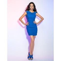 Cocktail Party Holiday Dress Royal Blue Plus Sizes Petite Sheath Column Cowl Short Mini Jersey