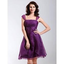 Cocktail Party Holiday Dress Grape Plus Sizes Petite A Line Princess Straps Square Knee Length Organza