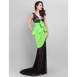 Formal Evening Dress Multi Color Plus Sizes Petite Trumpet Mermaid V Neck Court Train Lace Taffeta