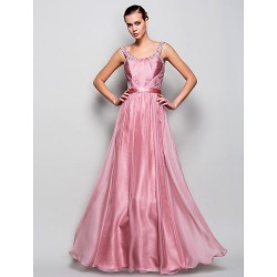 Prom Military Ball Formal Evening Dress Pearl Pink Plus Sizes Petite A Line Princess Straps Floor Length Chiffon