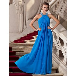 Formal Evening / Prom / Military Ball Dress - Ocean Blue Plus Sizes / Petite Sheath/Column Halter Floor-length Chiffon