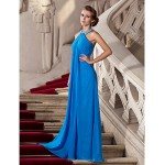 TS Couture Formal Evening / Prom / Military Ball Dress - Ocean Blue Plus Sizes / Petite Sheath/Column Halter Floor-length Chiffon Special Occasion Dresses