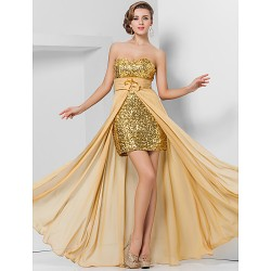 Prom / Formal Evening Dress - Gold Plus Sizes / Petite Sheath/Column Sweetheart / Strapless Asymmetrical / Floor-length Chiffon / Sequined