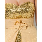 Prom / Formal Evening Dress - Gold Plus Sizes / Petite Sheath/Column Sweetheart / Strapless Asymmetrical / Floor-length Chiffon / Sequined Special Occasion Dresses