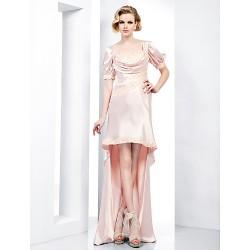 Formal Evening Dress Pearl Pink Plus Sizes Petite Sheath Column Sweetheart Floor Length Asymmetrical Charmeuse
