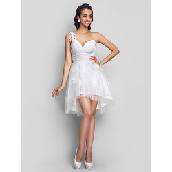 Cocktail Party Homecoming Prom Sweet 16 Graduation Dress Ivory Plus Sizes Petite A Line One Shoulder V Neck Short Mini