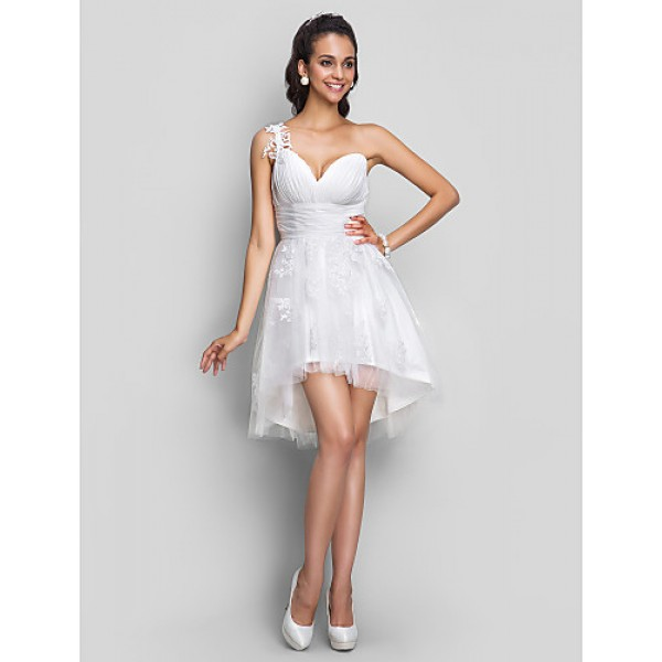 Cocktail Party / Homecoming / Prom / Sweet 16 / Graduation Dress - Ivory Plus Sizes / Petite A-line One Shoulder / V-neck Short/Mini Special Occasion Dresses