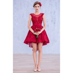 Cocktail Party Dress - Burgundy Ball Gown Bateau Short/Mini Lace / Spandex