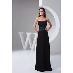 Formal Evening Dress - Black Petite A-line Strapless Floor-length Satin