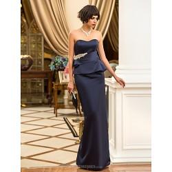 Formal Evening Military Ball Dress Dark Navy Plus Sizes Petite Sheath Column Sweetheart Floor Length Satin