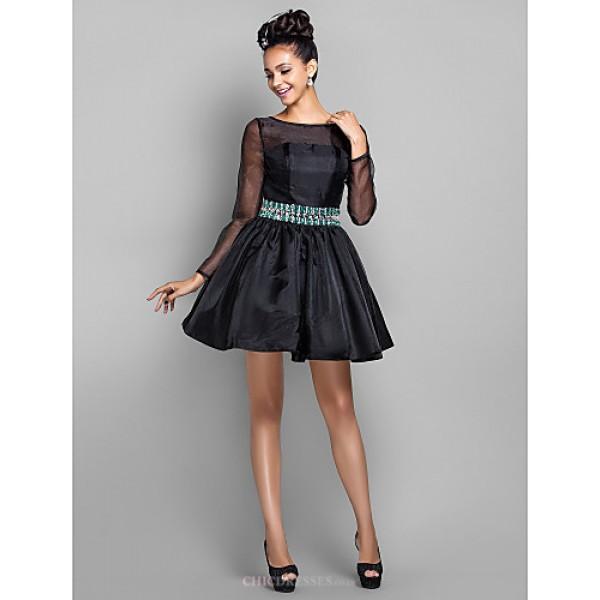 Cocktail Party / Prom / Holiday Dress - Black Plus Sizes / Petite A-line Bateau Short/Mini Organza Special Occasion Dresses