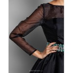 Cocktail Party / Prom / Holiday Dress - Black Plus Sizes / Petite A-line Bateau Short/Mini Organza Special Occasion Dresses