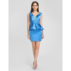 Cocktail Party Holiday Dress Ocean Blue Plus Sizes Petite Sheath Column V Neck Short Mini Satin