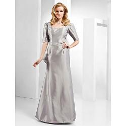 Formal Evening Dress Silver Plus Sizes Petite Sheath Column Scoop Floor Length Taffeta