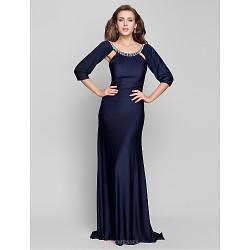 Formal Evening / Military Ball Dress - Dark Navy Plus Sizes / Petite Trumpet/Mermaid Scoop Sweep/Brush Train Jersey