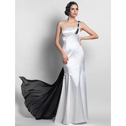 Formal Evening Military Ball Dress Ivory Plus Sizes Petite Trumpet Mermaid One Shoulder Sweep Brush Train Watteau TrainChiffon