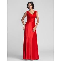 Formal Evening Prom Military Ball Dress Ruby Plus Sizes Petite Sheath Column Straps Floor Length Satin Chiffon