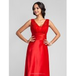 Formal Evening / Prom / Military Ball Dress - Ruby Plus Sizes / Petite Sheath/Column Straps Floor-length Satin Chiffon Special Occasion Dresses