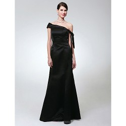 Formal Evening / Military Ball Dress - Black Plus Sizes / Petite Trumpet/Mermaid One Shoulder Floor-length Satin
