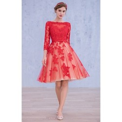 Cocktail Party Dress Ruby Ball Gown Bateau Knee Length Lace