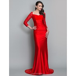 Formal Evening / Military Ball Dress - Ruby Plus Sizes / Petite Trumpet/Mermaid V-neck Sweep/Brush Train Knit / Lace