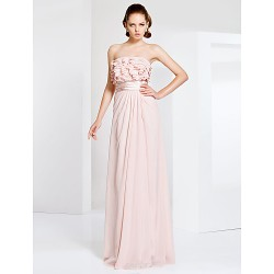 Prom / Military Ball / Formal Evening Dress - Pearl Pink Plus Sizes / Petite Sheath/Column Strapless Floor-length Chiffon