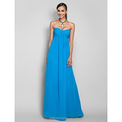 Formal Evening / Military Ball / Prom Dress - Ocean Blue Plus Sizes / Petite Sheath/Column Sweetheart Floor-length Chiffon