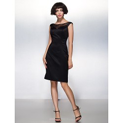 Cocktail Party Dress - Black Sheath/Column Scoop Knee-length Satin