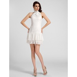 Cocktail Party Graduation Dress Ivory Plus Sizes Petite A Line Princess High Neck Short Mini Chiffon