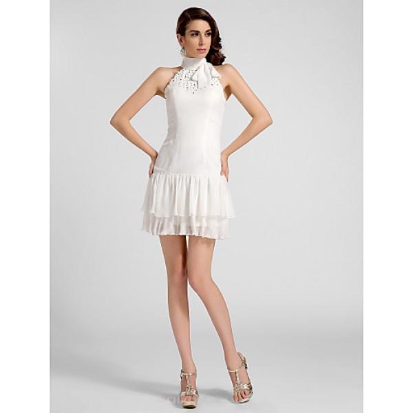 Cocktail Party / Graduation Dress - Ivory Plus Sizes / Petite A-line / Princess High Neck Short/Mini Chiffon Special Occasion Dresses