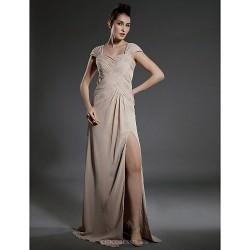 Formal Evening Military Ball Dress Champagne Plus Sizes Petite Sheath Column Square Floor Length Chiffon
