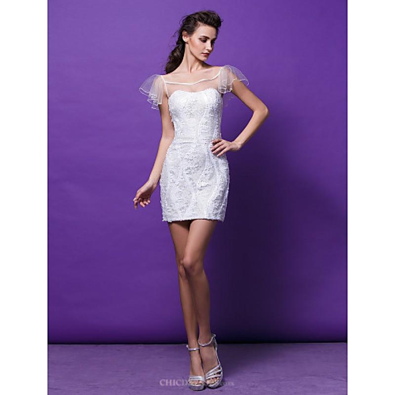 cc91a48b6f45 TS Couture Cocktail Party Dress - Ivory Plus Sizes / Petite Sheath/Column  Scoop Short