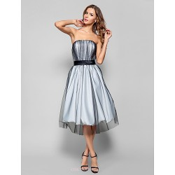 Cocktail Party Holiday Homecoming Dress Silver Plus Sizes Petite A Line Strapless Knee Length Tulle
