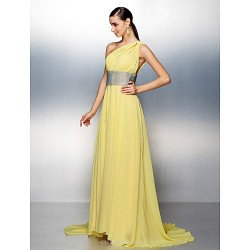 Prom / Formal Evening Dress - Daffodil Plus Sizes / Petite A-line One Shoulder Sweep/Brush Train Chiffon