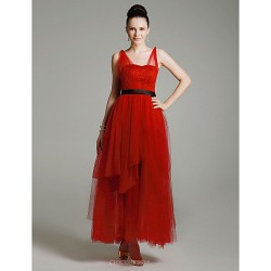 Prom Military Ball Formal Evening Dress Ruby Plus Sizes Petite A Line Princess Straps Ankle Length Tulle