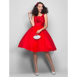 Dress - Ruby Plus Sizes / Petite Ball Gown V-neck Knee-length Satin / Tulle