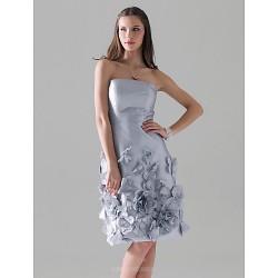 Cocktail Party Wedding Party Dress Silver Plus Sizes Petite Sheath Column Strapless Knee Length Taffeta