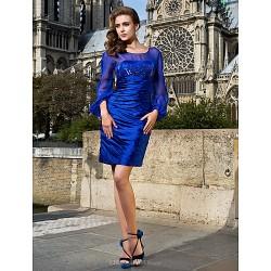 Cocktail Party Dress Royal Blue Plus Sizes Petite Sheath Column Scoop Short Mini Stretch Satin Chiffon