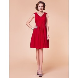 Sheath/Column Plus Sizes / Petite Mother of the Bride Dress - Ruby Knee-length Sleeveless Chiffon