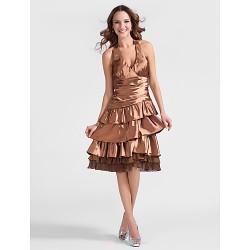 Cocktail Party Dress Brown Plus Sizes Petite A Line Princess Halter Knee Length Stretch Satin