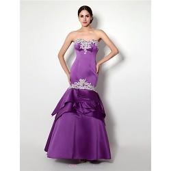 Formal Evening Dress Lilac Trumpet Mermaid Sweetheart Floor Length Satin