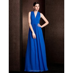 Floor Length Chiffon Bridesmaid Dress Royal Blue Plus Sizes Petite A Line Princess V Neck