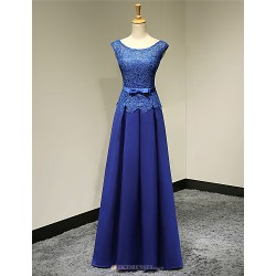 Formal Evening Dress Royal Blue Plus Sizes Petite A Line Scoop Floor Length Satin