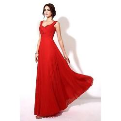 Formal Evening Dress Royal Blue Ruby A Line Sweetheart Floor Length Chiffon