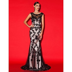 Homecoming Formal Evening Dress Black Trumpet Mermaid Scoop Court Train Lace