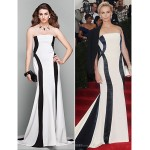 Formal Evening Dress - Multi-color Plus Sizes / Petite A-line Strapless Court Train Jersey Special Occasion Dresses